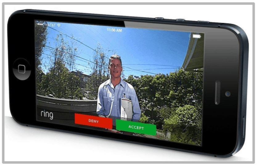 Ring App on a smartphone showing a live video