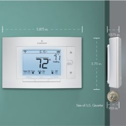 The Thermostat is about 6 inches long by 4 inches wide